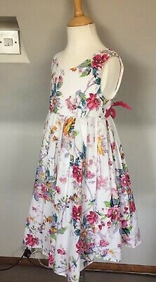 Monsoon Girls White Pink Blue Floral Flower Dress Aged 9-10 Years
