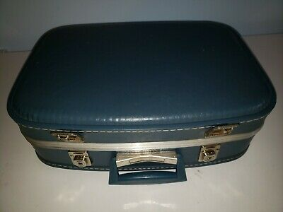 """Vintage Blue Hard Shell Small Cosmetics Travel Case Luggage Suitcase 16 """" x 11"""""""
