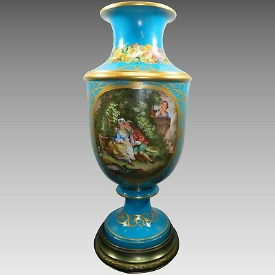 An Antique Monumental Sevres Style Porcelain Flower Vase Hand Painted Turquoise