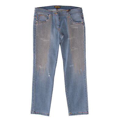 RRP €330 ROBERTO CAVALLI Jeans Size 10Y / 154CM Stretch Distressed Ball Chain