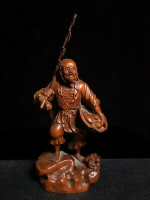 Collectable Precious Boxwood Carved Old Man Holding Fishing Rod Exquisite Statue