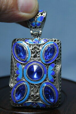 Exquisite Handicraft Miao Silver Carved Butterfly Inlay Blue Beads Lucky Pendant