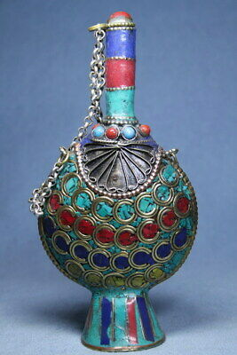 Collectable Handwork Cloisonne Carved Chain Auspicious Beautiful Snuff Bottles