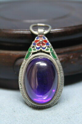 Exquisite Handwork Miao Silver Inlay Purple Gems Auspicious Beautiful Pendant