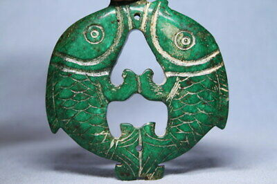 Decorative Handwork Ancient Jade Carved Two Fish Auspicious Beautiful Pendant