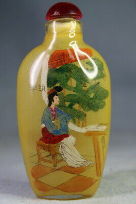 Handmade Coloured Glaze Inside Painting Beauty Bamboo Exquisite Snuff Bottles