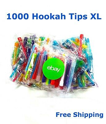 1000 Extra Long Individually Wrapped Hookah Hose Mouth Tips with Sanitary Bag