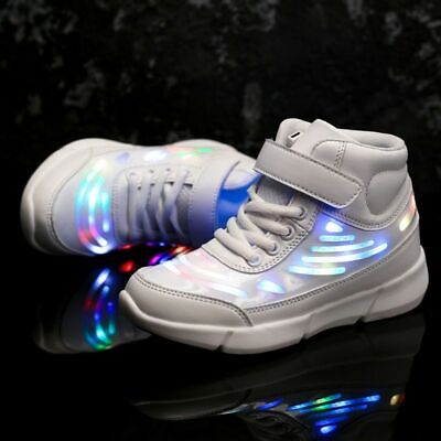 Cool Glowing Shoes Fashion Ankle High Boys Girls Luminous Sneakers Children USB