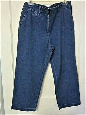 ORVIS Cotton Zip & Button Front Straight Leg Women's / Girl's Blue Capris  SZ.12
