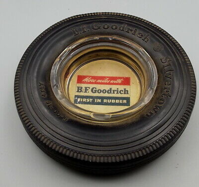 Vtg BF Goodrich Tire Ashtray Advertising Silvertown First in Rubber More Miles