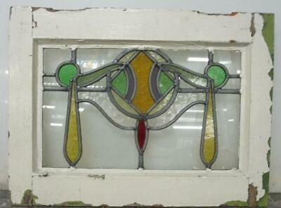 "OLD ENGLISH LEADED STAINED GLASS WINDOW Stunning Abstract Drape 19.75"" x 15"""