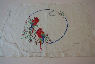 UNFINISHED LARGE EMBROIDERED LINEN DOILY 47x32cm #29