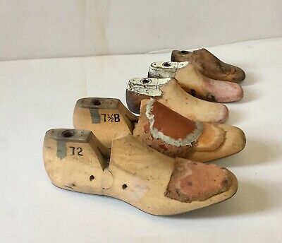 Cobbler's wooden shoe molds / lasts (2 pairs+1). Collector's item. Charity sale