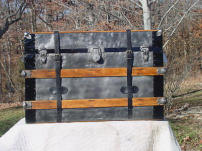 Antique Trunk Embossed Tin New Belts Embossed Tin Splendid Restoration!