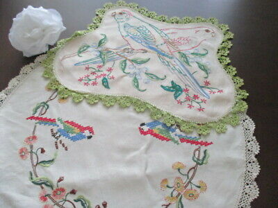 Two Large Centrepieces Vintage Retro Doilies. Hand Embroidered. Pretty Parrots.