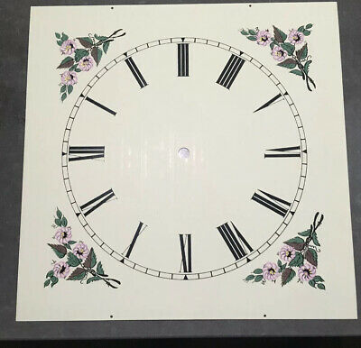 """NOS Vintage Large 12"""" Metal Square Painted Nice Clock Face Roman Numerals"""