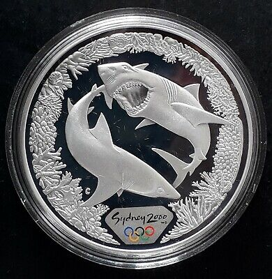2000 Australia Sydney Olympic ( 99.9% ) $5 Coin Great White Shark & Coral