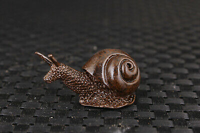 rare chinese old bronze hand carved snail statue figure