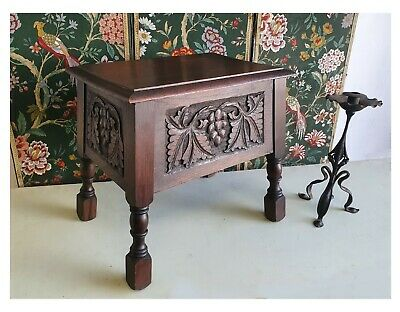 Carved Arts And crafts Style Oak Stool / Sewing Box