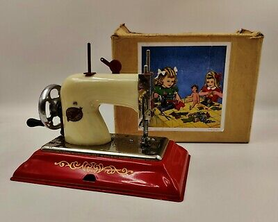 Vintage EMG Comet Children's Toy Hand Cranked Sewing Machine-Tinplate-Boxed