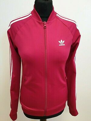 Gg559 Girls Adidas Pink White Striped Tracksuit Top Uk Age 13-14 Years