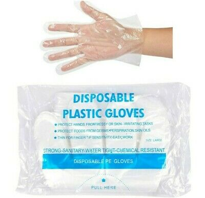 100 x EXTRA STRONG Medical food safe Disposable polythene Smooth gloves