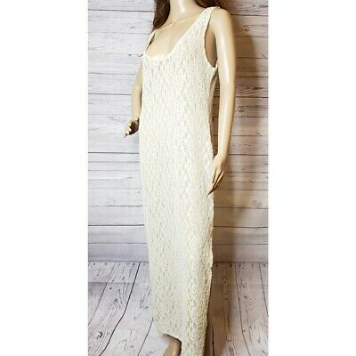 VINTAGE VICTORIA's SECRET FULL SHEER IVORY LACE NIGHTGOWN - PERFECT