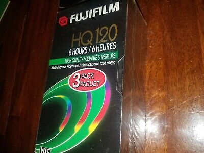 Pack of 3 FUJIFILM T-120 6 Hr  VHS Tapes New Sealed