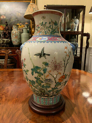 A Large Chinese Qing Dynasty Famillie Rose Porcelain Vase, Drilled.
