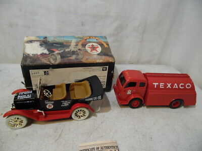 VTG 1995 ERTL Collectibles Texaco 1949 White Tilt Cab Die Cast Bank 1917 Maxwell