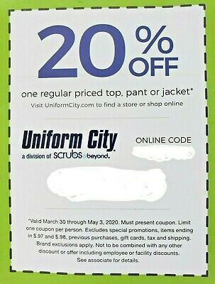 Uniform City Coupon Deal Savings Promo Code Offer Save On Scrubs 20% Off Card!!!