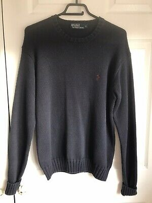 🌈 Ralph Lauren Polo Mens S /M Blue Chunky Knitted Cotton Jumper