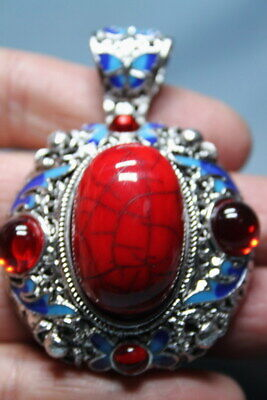 Decorative China Miao Silver Carved Flowers Inlay Red Beads Exquisite Pendant