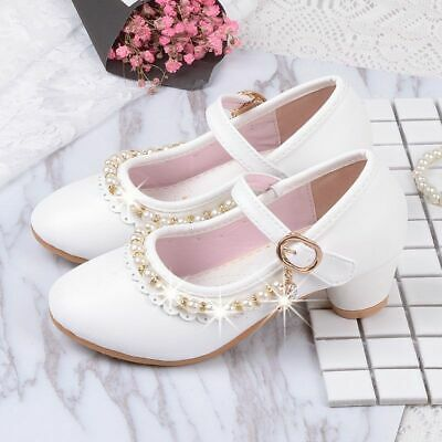 White Shoes Little Girls Dress Party Wedding School Shoes Big Girls High Heels