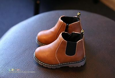 Autumn Winter New Fashion Kids Leather Shoes Girls Zipper Soft Casual Boots