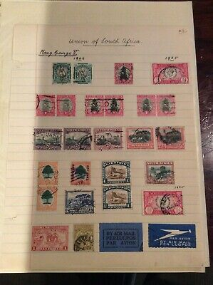 Collection Of Old Commonwealth Stamps On Album Pages.