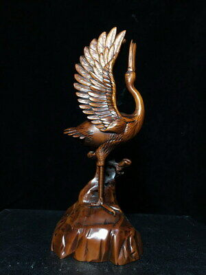 Collectable Boxwood Carved Red-crowned Keep Head Up Auspicious Ancient Statue