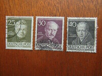 LotG4) 1952 Germany BERLIN SG B98/100 Famous Berliners USED stamp Cat Val £27.50