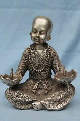Decorative China Miao Silver Carved Bald Monk Held Candlestick Exquisite Statue