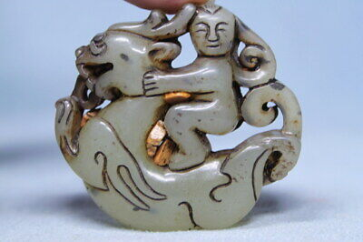 Decorative Ancient Jade Carved Monkey Riding Horse Auspicious Beautiful Pendant