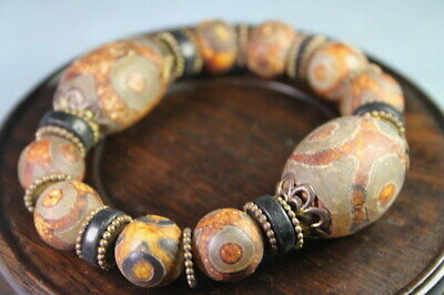 Handicraft Exquisite Collectable Agate Carved Circular Bead Auspicious Bracelet