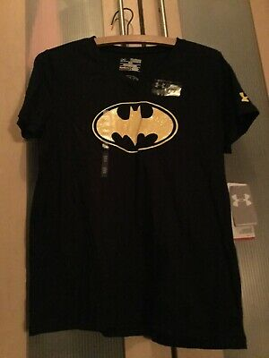 NEW WITH TAGS BATMAN UNDER ARMOUR BLACK TSHIRT AGE 13 RRP $29.99 with glitter