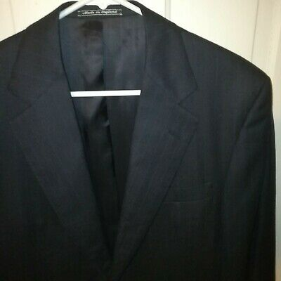 Chester Barrie Savile Row 40S Wool Navy Blue Pinstripe 2 PC Suit 32x27 Pants