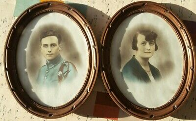 Vintage 1920s Wooden Oval Picture Photo Frames Large Wall Mounted Art Deco Pair