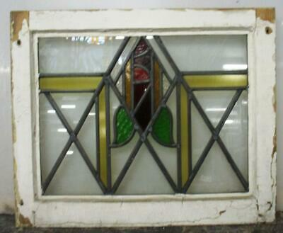 "OLD ENGLISH LEADED STAINED GLASS WINDOW Pretty Geometric Rose 20.75"" x 17"""