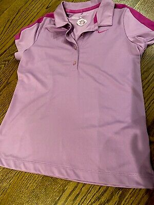 NIKE Golf DRI-FIT Oakmont Logo PURPLE Girls Large Shirt