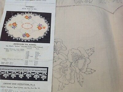 """Vintage Stamped Linen Small Tablecloth Agm """"Pansies"""" Design 5357 To Embroider"""