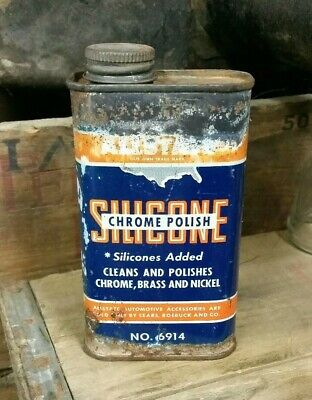 Vintage ALLSTATE Chrome,brass,nickle Polish Can Sears Roebuck & Co Old Gas Oil