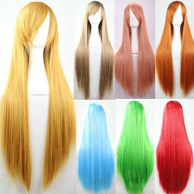 Women Long Straight Cosplay Party Hair Anime Full Wig Fancy Dress Hair w/Bangs