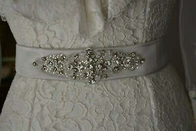 Champagne Bridal Belt in Diamante and Crystal - Handmade